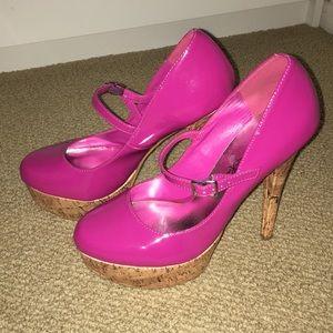 Penny Loves Kenny Pink Platform Heels, Size 8.5